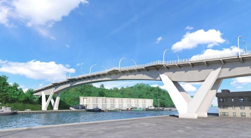 南方澳跨港大橋重建工程,月底核定經費後全面啟動,圖為新橋造型示意畫面。(圖由蘇花改工程處提供)
