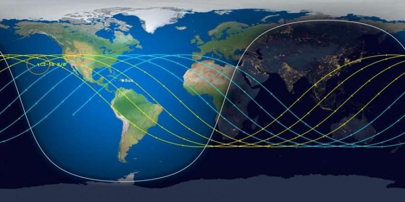 中國火箭「長征五號B」預測可能墜落地點在加州外海一帶。(圖擷自《Aerospace》)