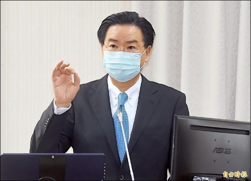 立委詢問美國是否提案支持台灣參與世衛大會,外交部長吳釗燮昨答詢表示,美方目前認為,今年不適合由美國提案,我方沒有放棄說服。 (記者簡榮豐攝)