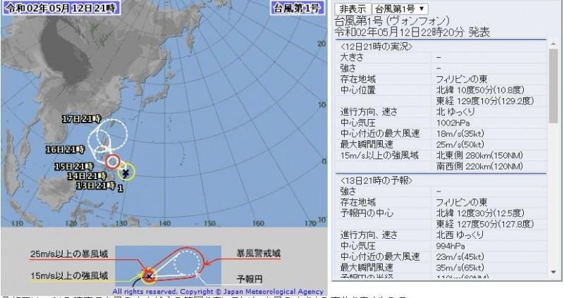 針對位在菲律賓東方海面上的熱帶性低氣壓,日本氣象廳在日本時間5月12日晚間10點20分率先宣布其已增強為輕度颱風,成為今年第1號颱風「黃蜂」。(圖擷取自日本氣象廳)