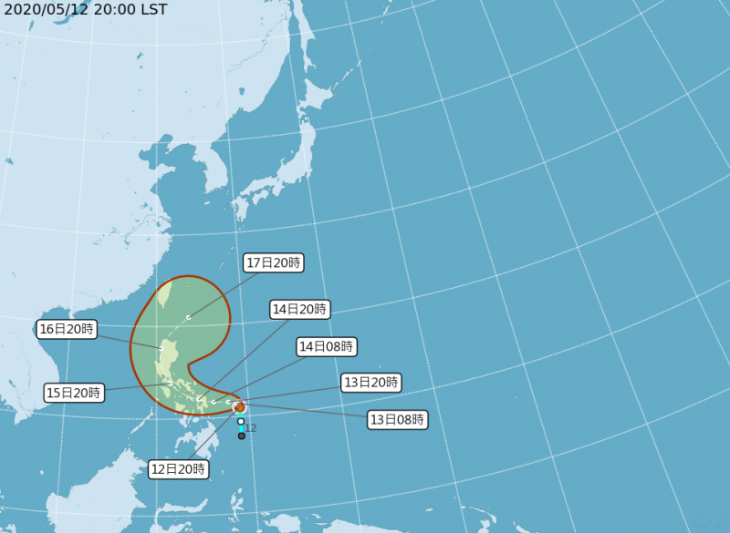 位在菲律賓東方的熱帶低氣壓,在今日(12日)晚間10點許已升級為輕型颱風,是今年第1號颱風「黃蜂」(Vongfong,澳門命名),目前以每小時5公里速度往西北方移動。(圖擷取自中央氣象局)