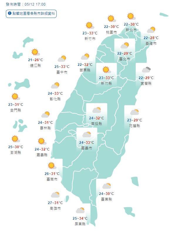 溫度方面,各地清晨低溫約22至25度,相當舒適,白天東半部高溫28至30度,西半部高溫更高一些,可達30至33度。(圖擷取自中央氣象局)