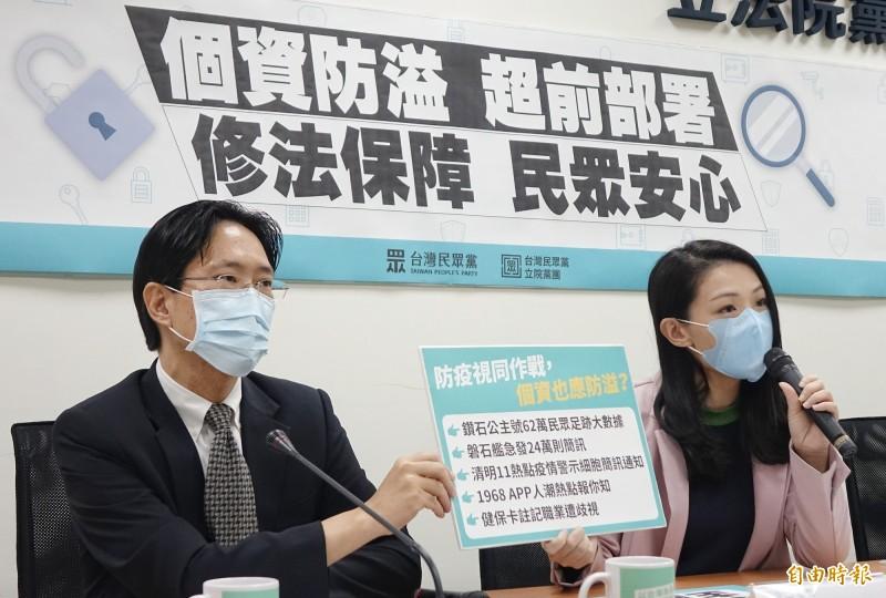 台灣民眾黨立院黨團立委張其祿(左)、高弘安(右)召開「擴充個資定義、擴大保障範圍」記者會。(記者劉信德攝)