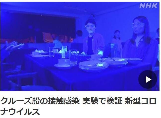 日本《NHK》近日公布一段模擬正常社交場合下病毒擴散的實驗影片。(擷取自NHK)