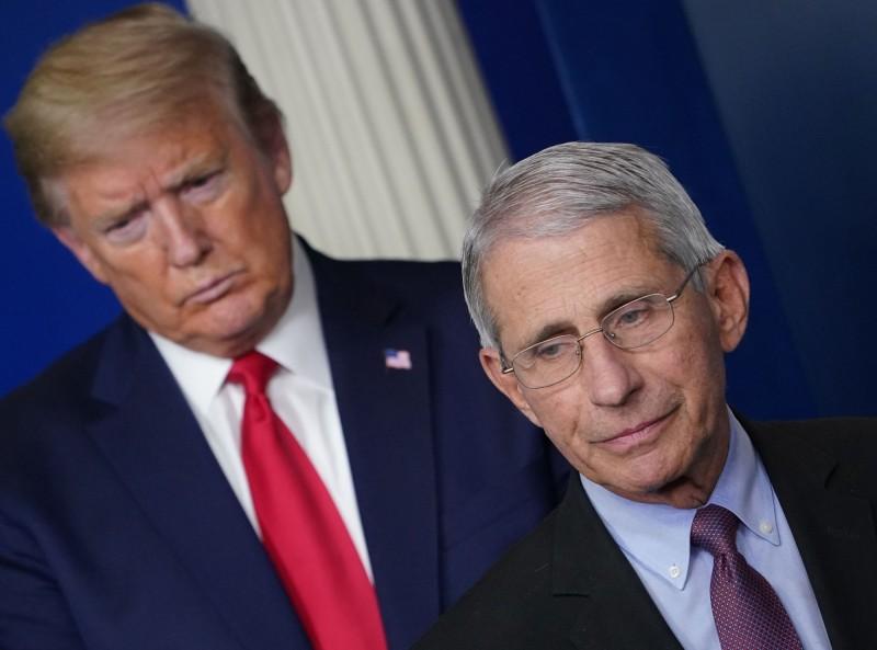 川普(左)與佛奇(右)在重啟美國的議題上立場相左。(法新社)