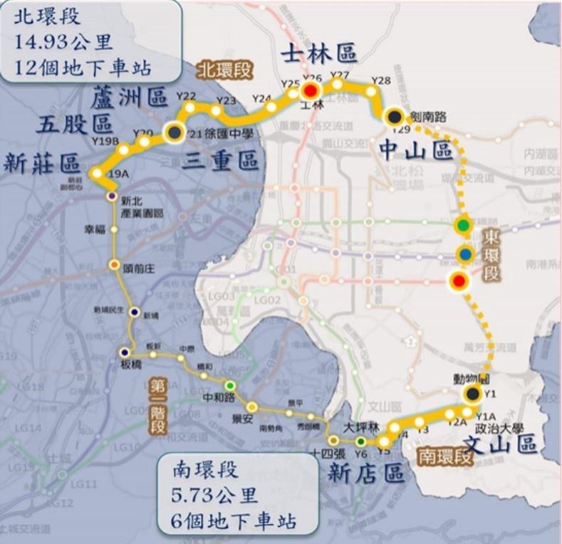 捷運北環段(上方粗黃色的部分)預計在明年7月動工,117年完工。(取自台北市捷運工程局網站)
