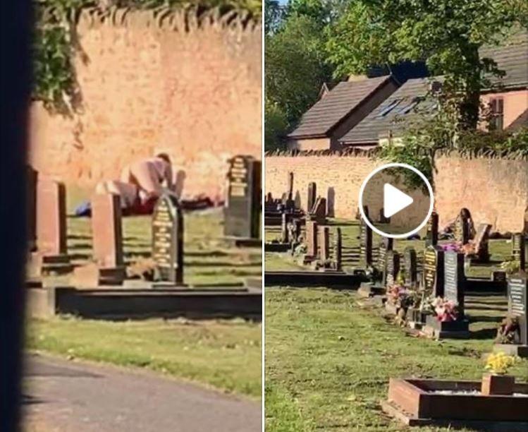 英國有一對男女解封前在一個小鎮公墓旁的空地上演「活春宮」,過程也被附近的年輕人給錄下。(圖擷取自臉書)