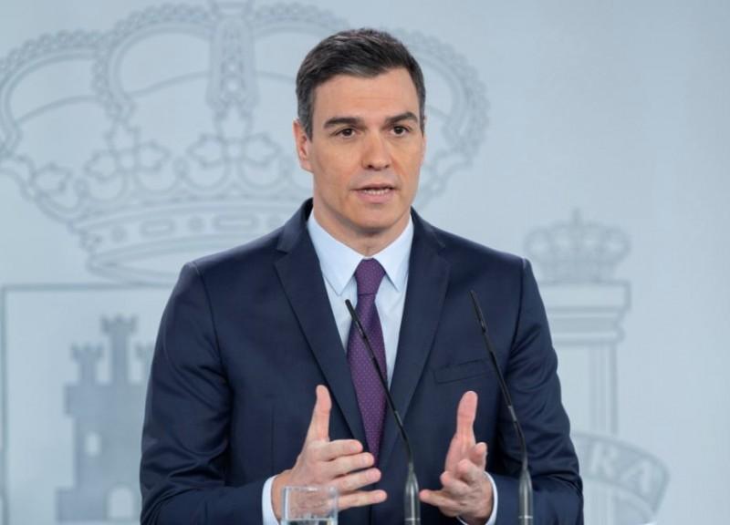 西班牙總理桑切斯(Pedro Sanchez)週六(16日)宣布將請求國會「最後一次」延長緊急狀態至6月底。(歐新社)