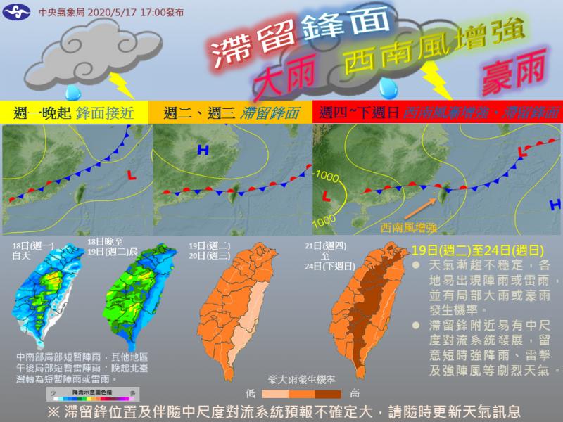 氣象局指出,未來一週滯留鋒、西南風影響,各地豪大雨發生機率高。(圖取自中央氣象局)