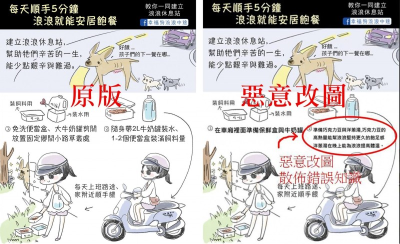 宣導「浪浪休息站」的插畫遭網友惡意竄改,散布狗吃巧克力豆、洋蔥湯的錯誤觀念。(圖擷取自「幸福狗流浪中途」臉書)