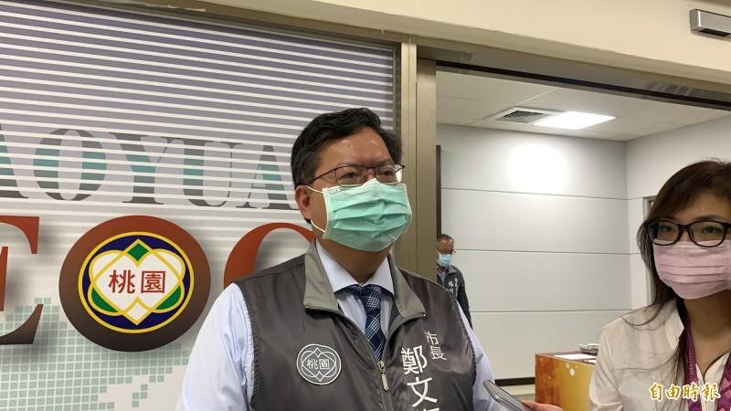 鄭文燦談市府團隊的副市長游建華、民政局長王安邦的過去經歷,表示2人都是優秀人才。(記者陳恩惠攝)