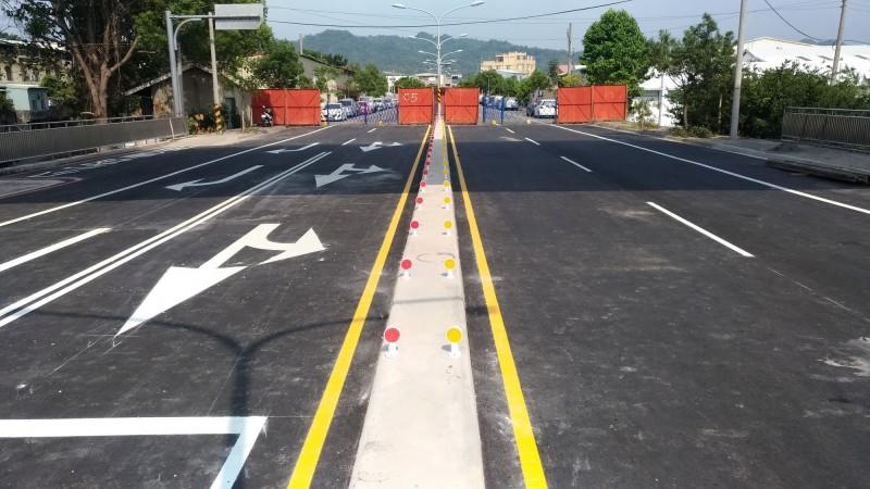 潭子區外環道福貴路二階段工程已完工,等校栗林橋改建完成即可通車。(台中市政府提供)
