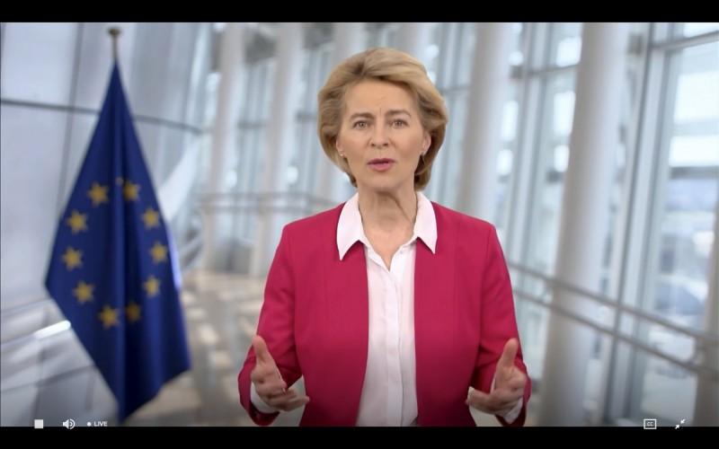 歐盟執委會主席馮德萊恩(見圖)19日在世衛大會WHA以視訊發表演說。(法新社)