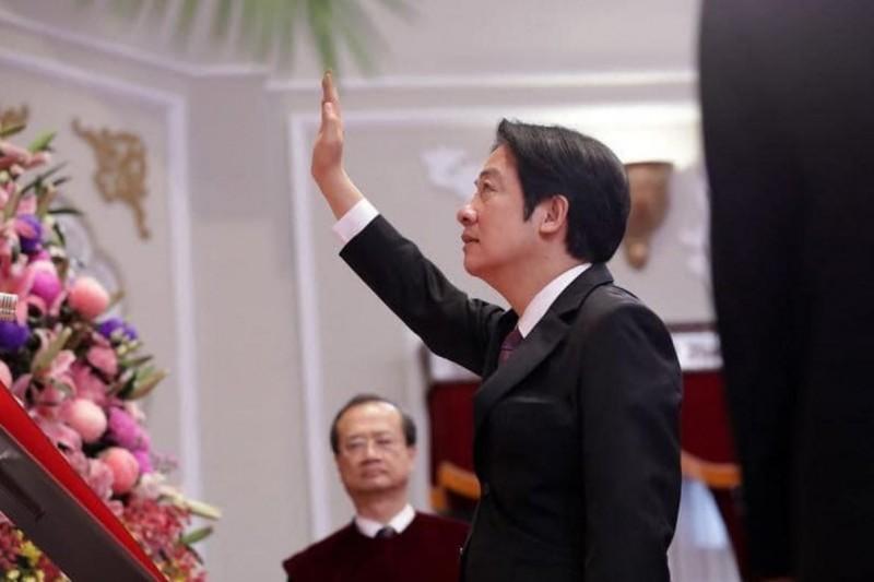 副總統賴清德今日宣誓就職。(圖擷取自臉書)
