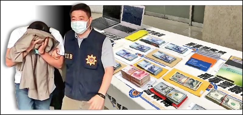 張姓經理(蒙面者)被送辦,警方查扣手機、筆電、USB、金融卡,以及台幣、美元等多國貨幣。(記者邱俊福攝及翻攝)