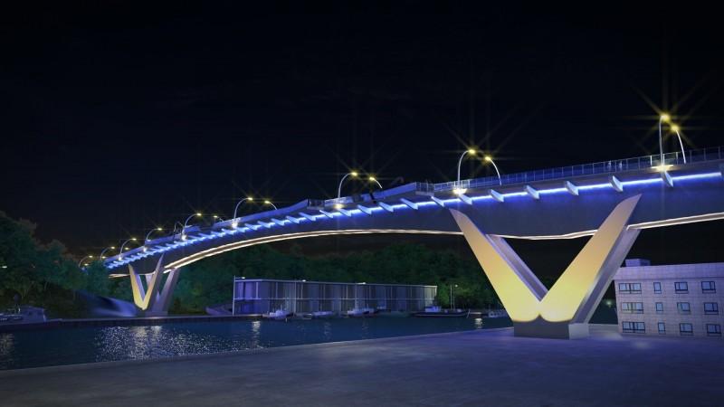 南方澳跨港大橋新橋設計夜間光雕。(圖由蘇花改工程處提供)