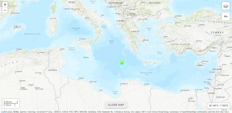 地中海中部今凌晨發生規模5.8的極淺層地震。(擷取自USGS網頁)