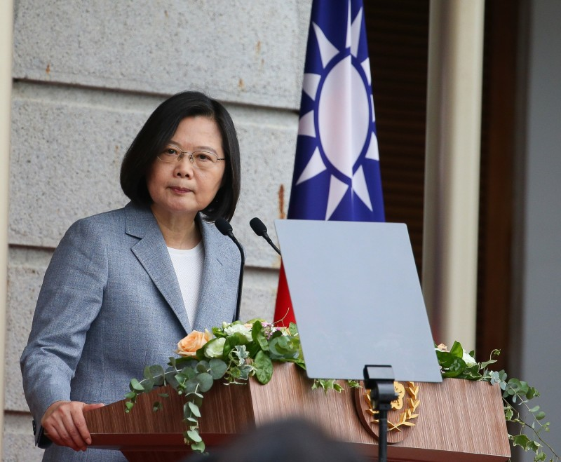 President Tsai Ing-wen gave an inaugural speech at the Taipei Hotel on the 20th and was reported on the government work report of the two committees of the Communist Party of China. (Central News Agency)