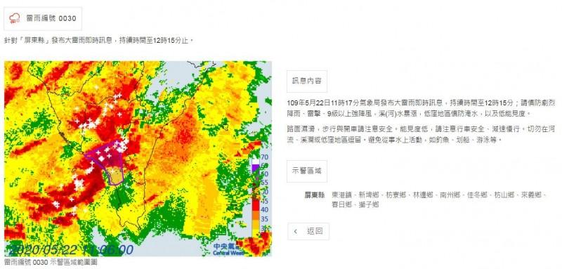 中央氣象局於今日上午11時17分針對屏東縣發布大雷雨即時訊息,持續時間至中午12時15分。(氣象局提供)