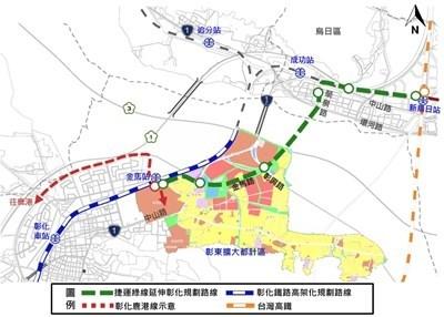 台中捷運綠線延伸線將增設1站,連接彰化鐵路金馬站,已提送交通部審議。(台中市政府提供)