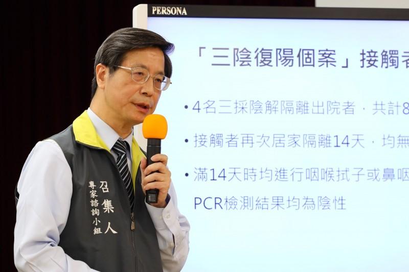 張上淳今天說明國內確診者狀況,提到「復陽」者狀況,他們重回醫院採檢後即使做PCR是陽性,但沒有活病毒、或病毒量很低,是沒有傳染力的。(指揮中心提供)