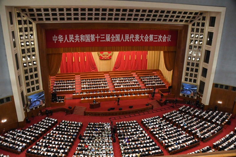 中國將於第13屆全國人民代表大會第3次會議表決港版國安法。(法新社)