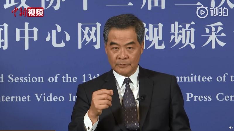 前香港特首梁振英喊話香港反對派,「不要低估中央處理香港問題的決心」。(擷取自中國新聞網微博)
