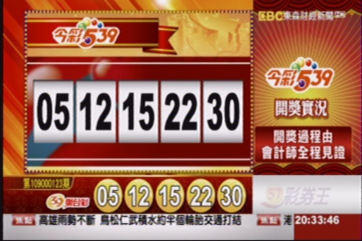 今彩539、39樂合彩開獎號碼。(圖擷取自東森財經台57彩券王)