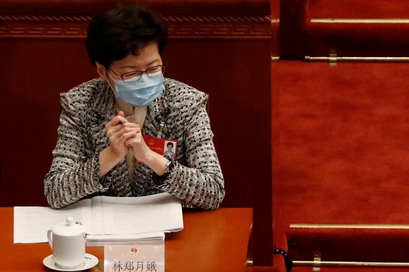 林鄭月娥今日列席中國全國人大會議,同時發表聲明擁護人大推動的「港版國安法」。(路透)
