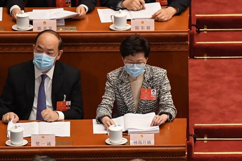 香港特首林鄭月娥參加今年中國全國人大會議。(法新社)