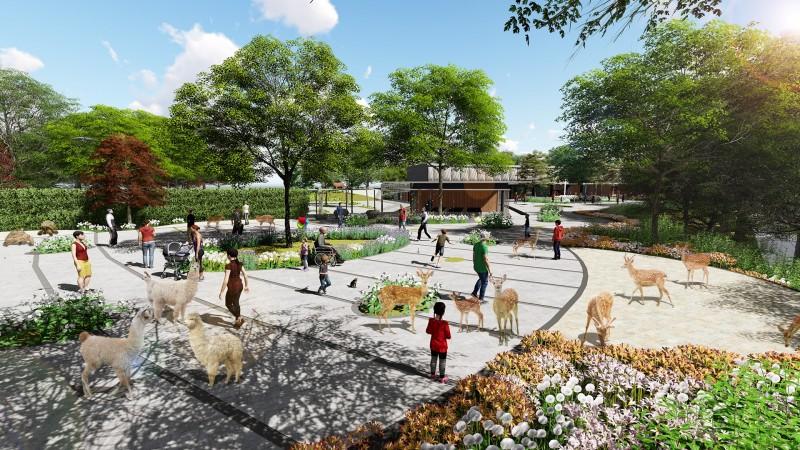 內門觀光休閒園區將結合與遊客互動的動植物生態。此為設計模擬圖。(高雄市觀光局提供)