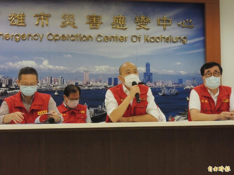 高市災情通報全國最多,警方通報標準被內部質疑,韓國瑜則認為問題不怕多。(記者王榮祥攝)