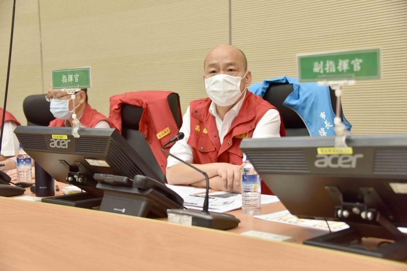 高雄市長韓國瑜今在防災會議上要求找出鹽埕區抽水機連2次故障的原因,如果有人的因素就必須處分。(圖高市府提供)