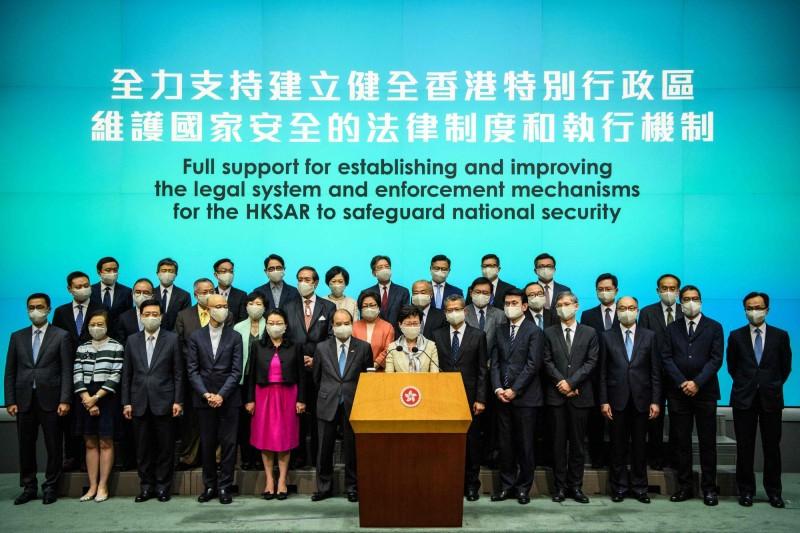 香港特首林鄭月娥昨日召開記者會,擁護港版國安法。(法新社)