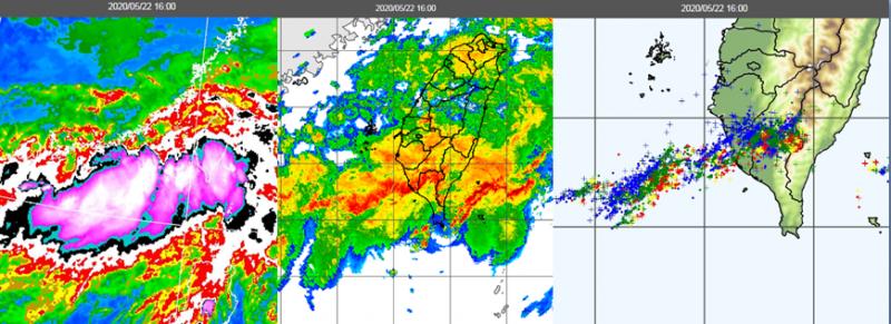 圖左為昨日16時紅外線雲圖,圖中為雷達回波合成圖,圖右則可見密集閃電。(翻攝三立準氣象‧老大洩天機)