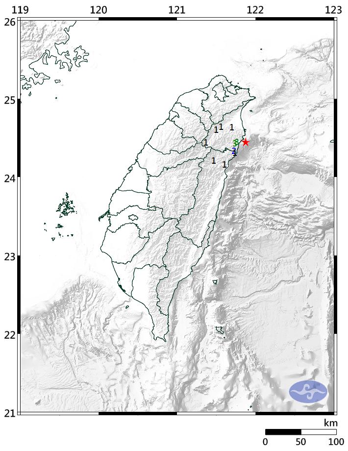 今上午8時16分宜蘭縣近海發生芮氏規模3.6地震。(圖擷取自氣象局網站)