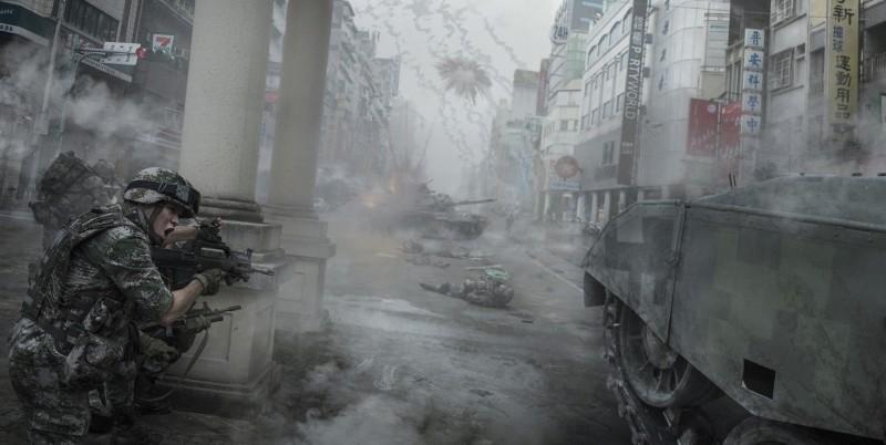 一張共軍坦克開到大街上進行城市巷戰的照片,是位於嘉義市西區仁愛路的街景。(擷取自微博)