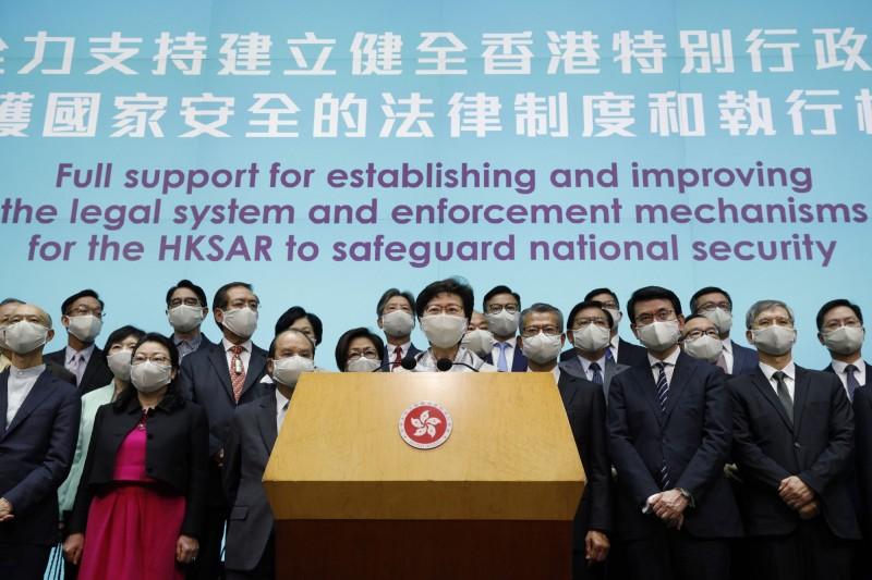 香港特首林鄭月娥支持「港版國安法」的立定。(美聯社)