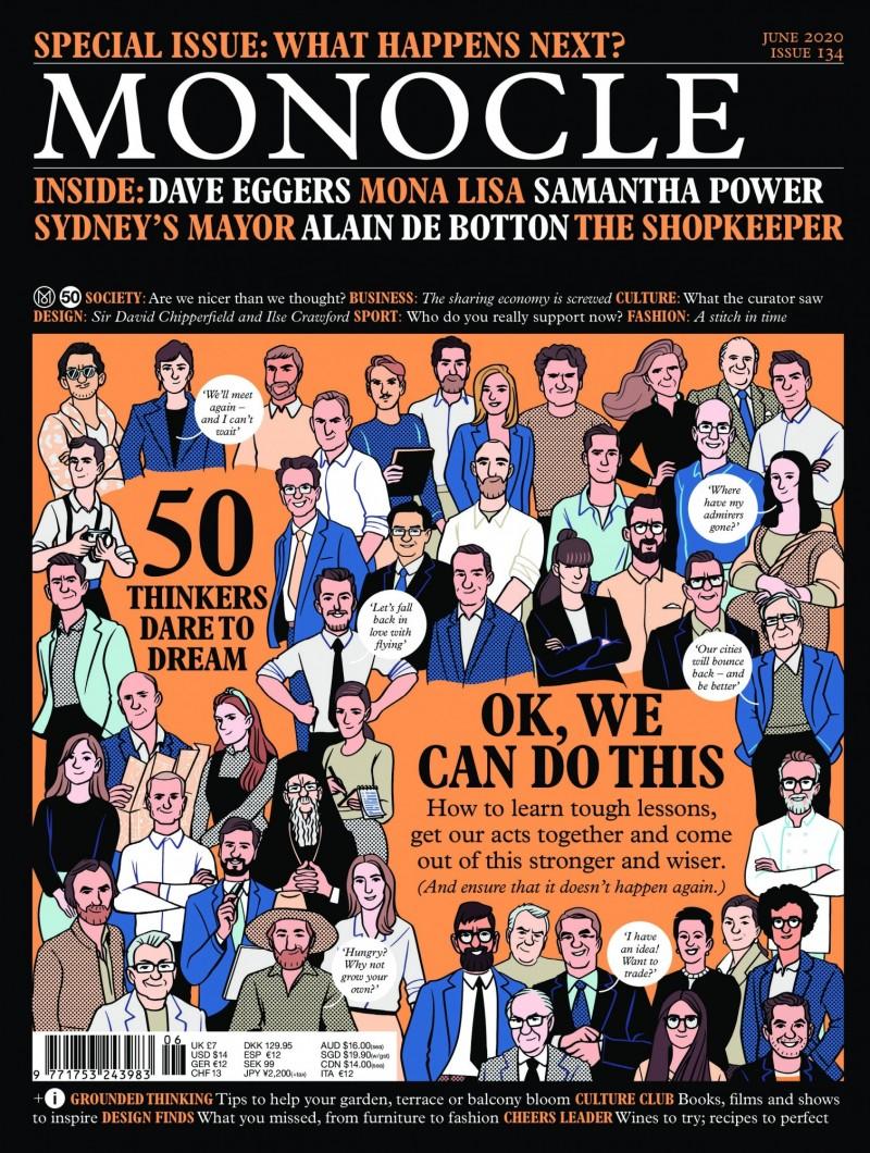 全球議題雜誌《MONOCLE》6月號刊登了全世界50位領導人物的訪談,我國外交部長吳釗燮(畫面中間著黑色西服、打藍色領帶者)亦在列。(圖由《MONOCLE》雜誌提供)
