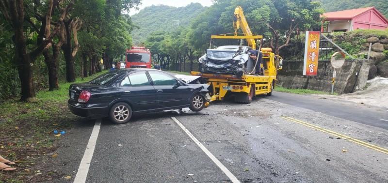 台11線成功鎮小馬路段今天中午發生兩車對撞車禍。(記者黃明堂翻攝)