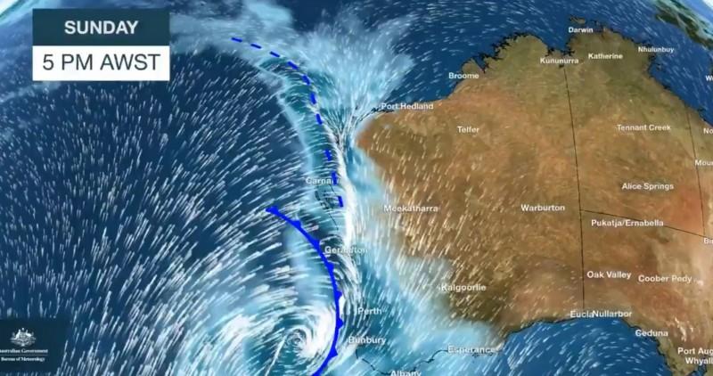 澳洲面臨10年一見的恐怖風暴,西澳大利亞州首當其衝,多個地區已發布嚴重天候警報。(圖擷自西澳氣象局推特)