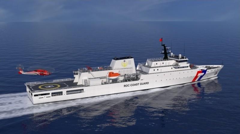 由台船公司建造的4000噸級海巡艦,首艘艦將在年底交艦。圖為台船公司先前公佈模擬示意圖,空勤總隊UH-60M黑鷹直升機正準備降落在4000噸級海巡艦飛行甲板上。(圖擷取自台船公司網頁)