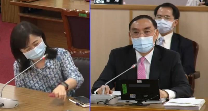 國民黨立委林奕華(左)質疑,法務部長蔡清祥未對此事發新聞稿澄清,是否也算是行政不中立?(擷取自網路)