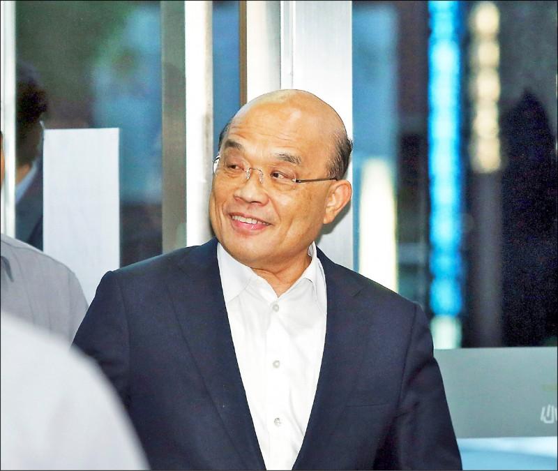 行政院長蘇貞昌25日晚間與民進黨中南部及東部立委餐敘。(中央社)