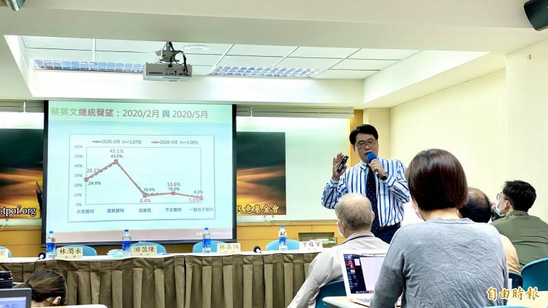 台灣民意基金會董事長游盈隆說明最新民調結果。(記者黃欣柏攝)