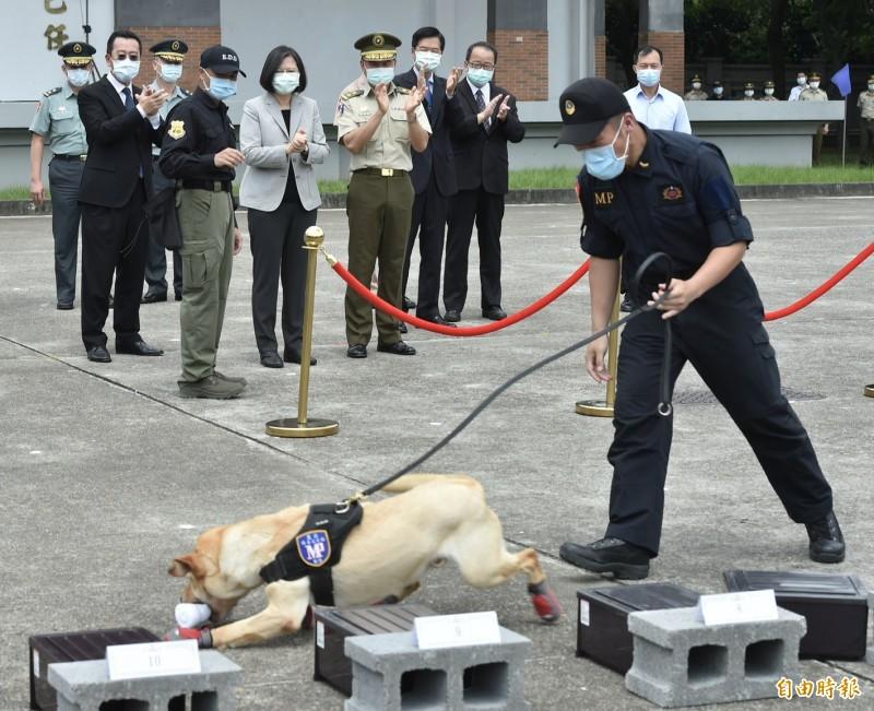 總統蔡英文視導「憲兵指揮部」,還和緝毒犬互動。(記者塗建榮攝)