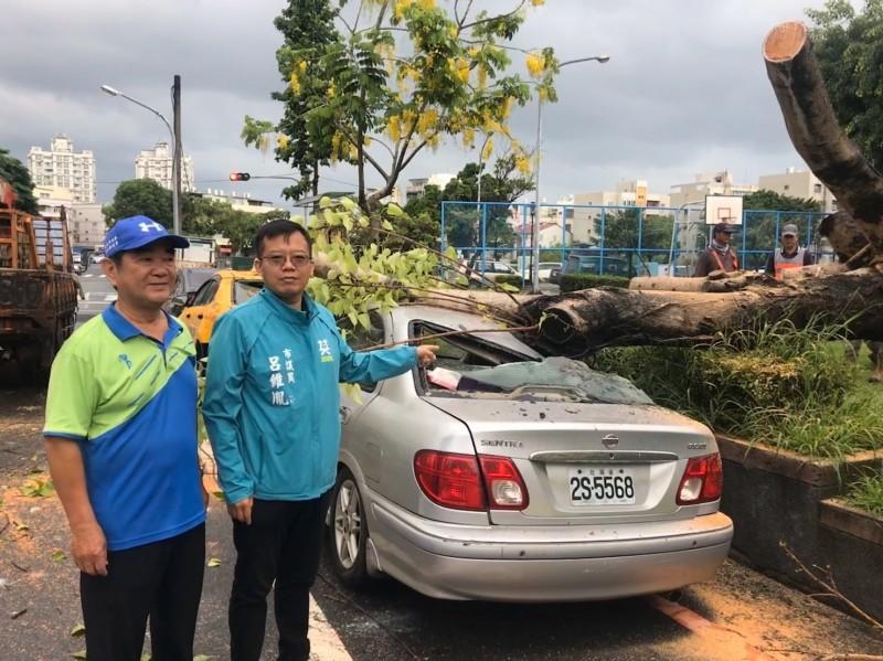 台南市議員呂維胤(右者)指南區公所管維路樹經費不足,要求市府增編預算。(記者王俊忠翻攝)