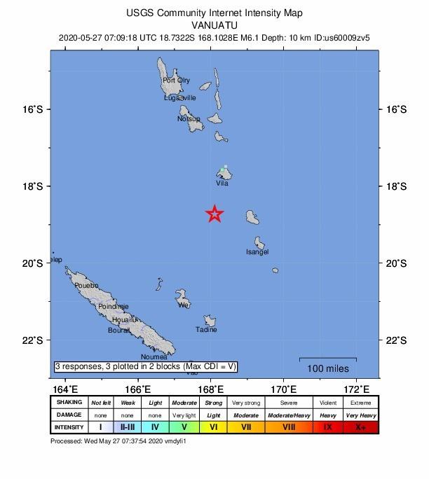太平洋島國萬那杜海域今下午驚傳發生規模6.1強震。(圖擷自USGS)