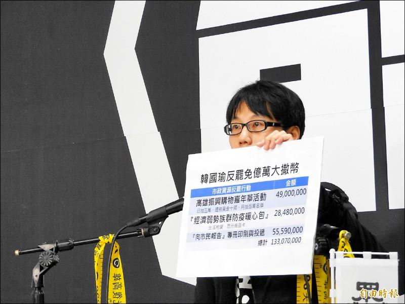 罷韓提案領銜人陳冠榮昨批評高雄市長韓國瑜,為了挽救被罷免命運,近期大撒幣,總共狂撒一億三千多萬元。(記者葛祐豪攝)