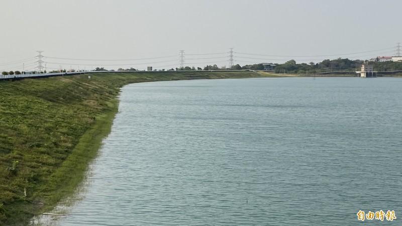 台南烏山頭水庫蓄水量增加。(記者楊金城攝)
